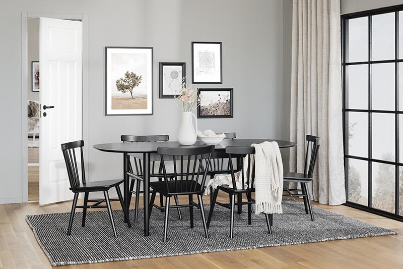 Akita matbord ovalt svart miljöbild
