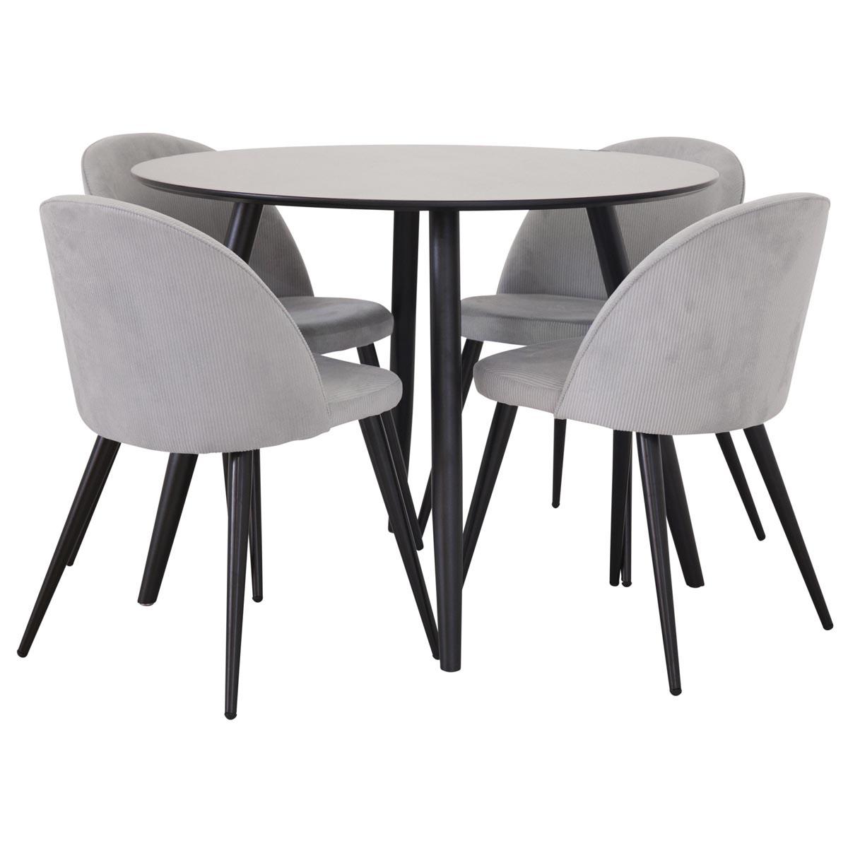 plaza matbord med 4 stolar velvet i grått manchestertyg